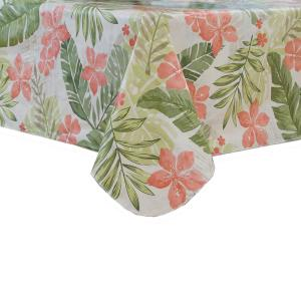 Tropics 60 inch W x 102 inch L Multi Single Vinyl Tablecloth by