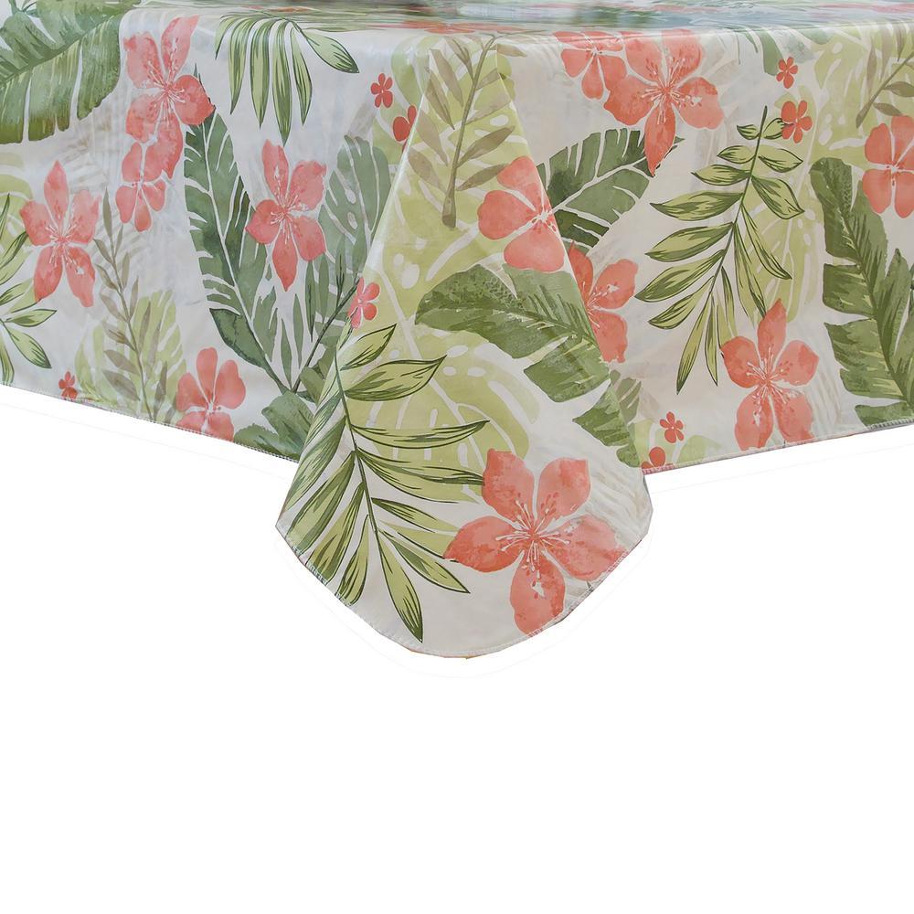 Tropics 60 inch W x 84 inch L Multi Single Vinyl Tablecloth with Umbrella Hole by