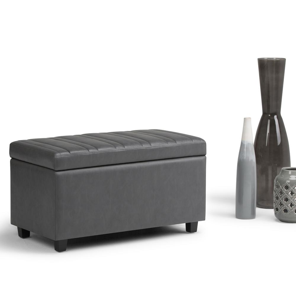 Simpli Home Darcy Stone Grey Pu Faux Leather Storage Ottoman Axcot 259 G The Depot