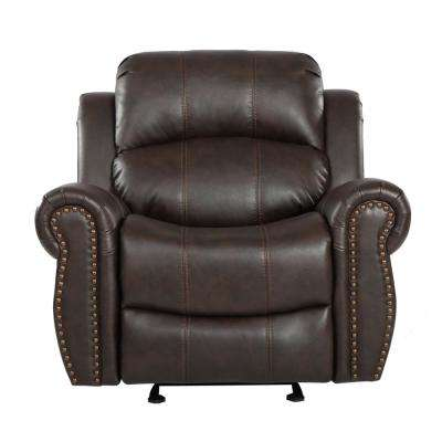 Gavin Dark Brown PU Leather Gliding Recliner