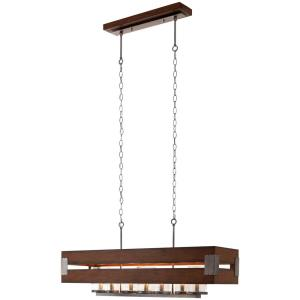 Home Decorators Collection Ackwood Collection 7-Light Rectangular Chandelier w/ Clear Seeded Glass Shades