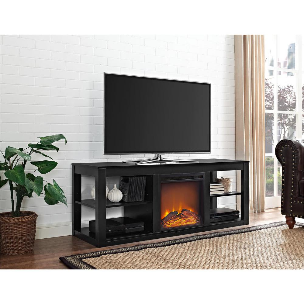 ameriwood parsons black 65 in tv stand console with fireplace 1816196com the home depot. Black Bedroom Furniture Sets. Home Design Ideas