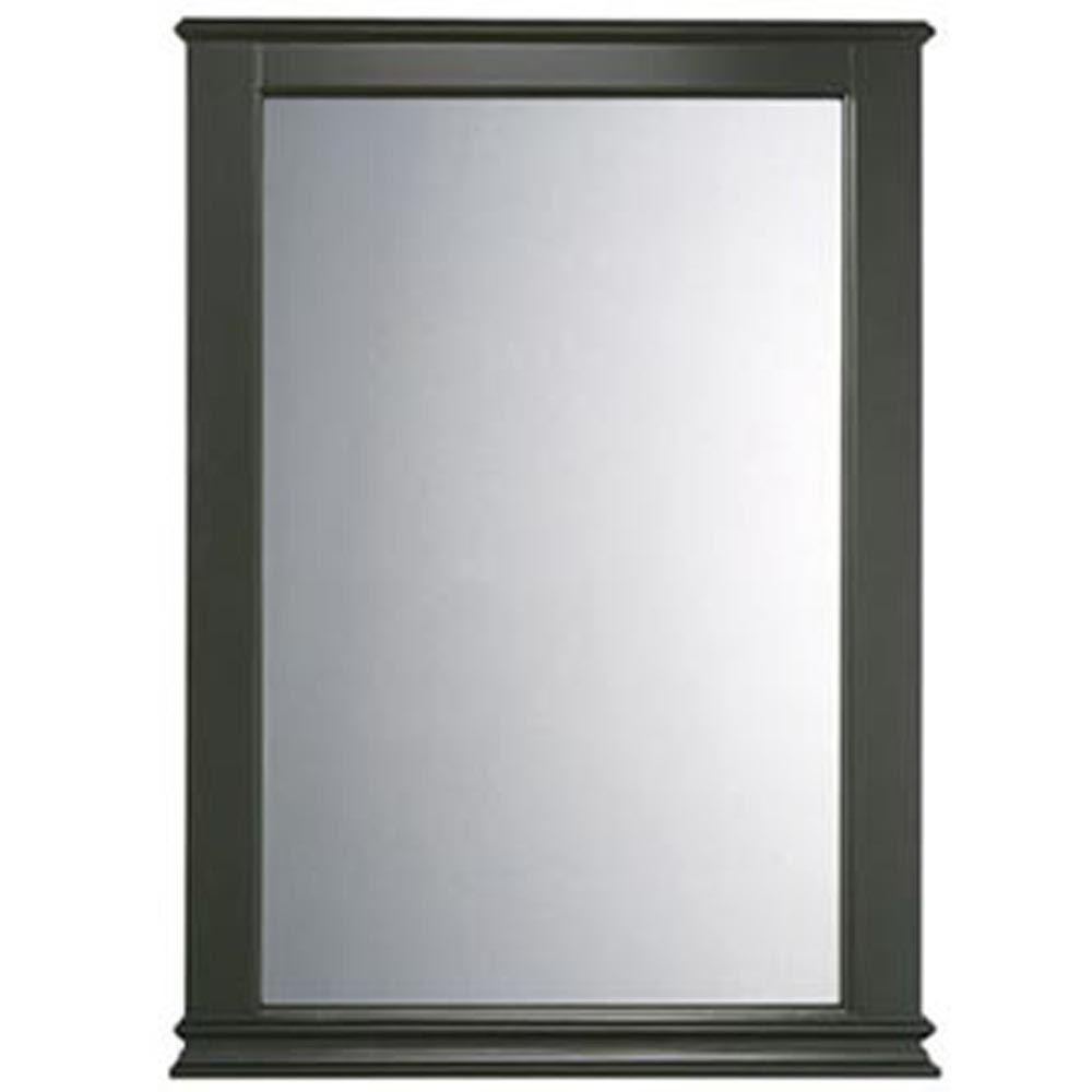Portsmouth 34 in. x 25 in. Framed Wall Mirror in Dark