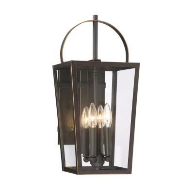 Rangeline Large 4-Light Oil Rubbed Bronze with Gold Highlights Outdoor Wall Mount Lantern