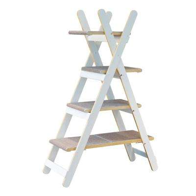White Modern Folding Cat Tree