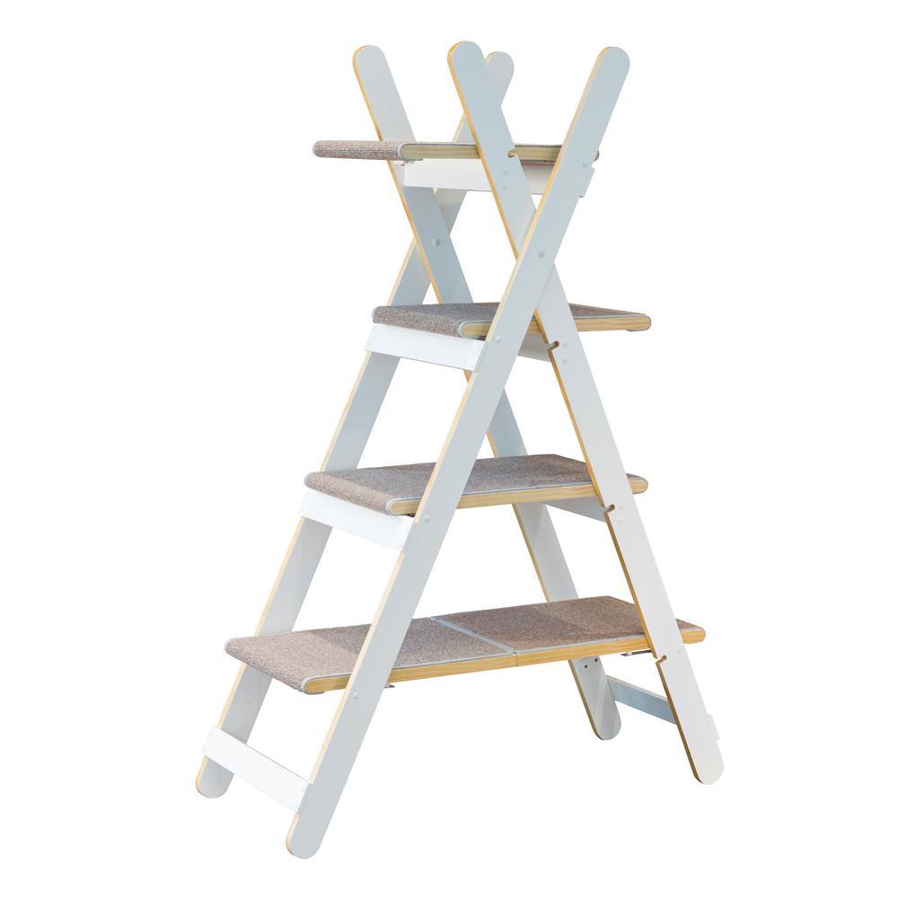 White Modern Folding Cat Tree