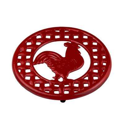 8 in. x 8 in. x 0.5 in. Cast Iron Rooster Trivet in Red