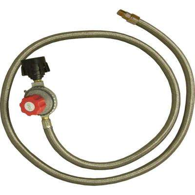 High Pressure Adjustable Regulator with Type 1 Connection and Stainless Steel Braided Hose 1/8 in. Male Pipe Thread