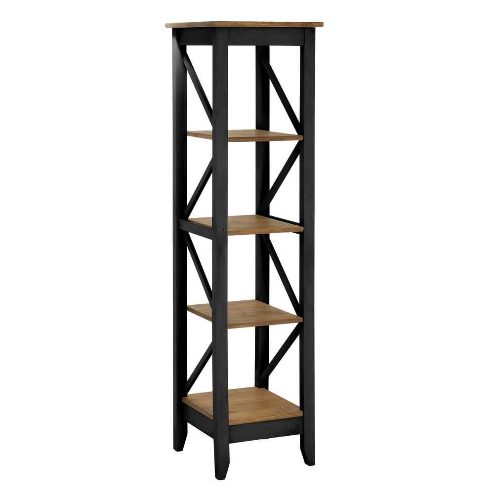 Jay 18.5 in. Black Wash Solid Wood Bookcase with 4-Shelves