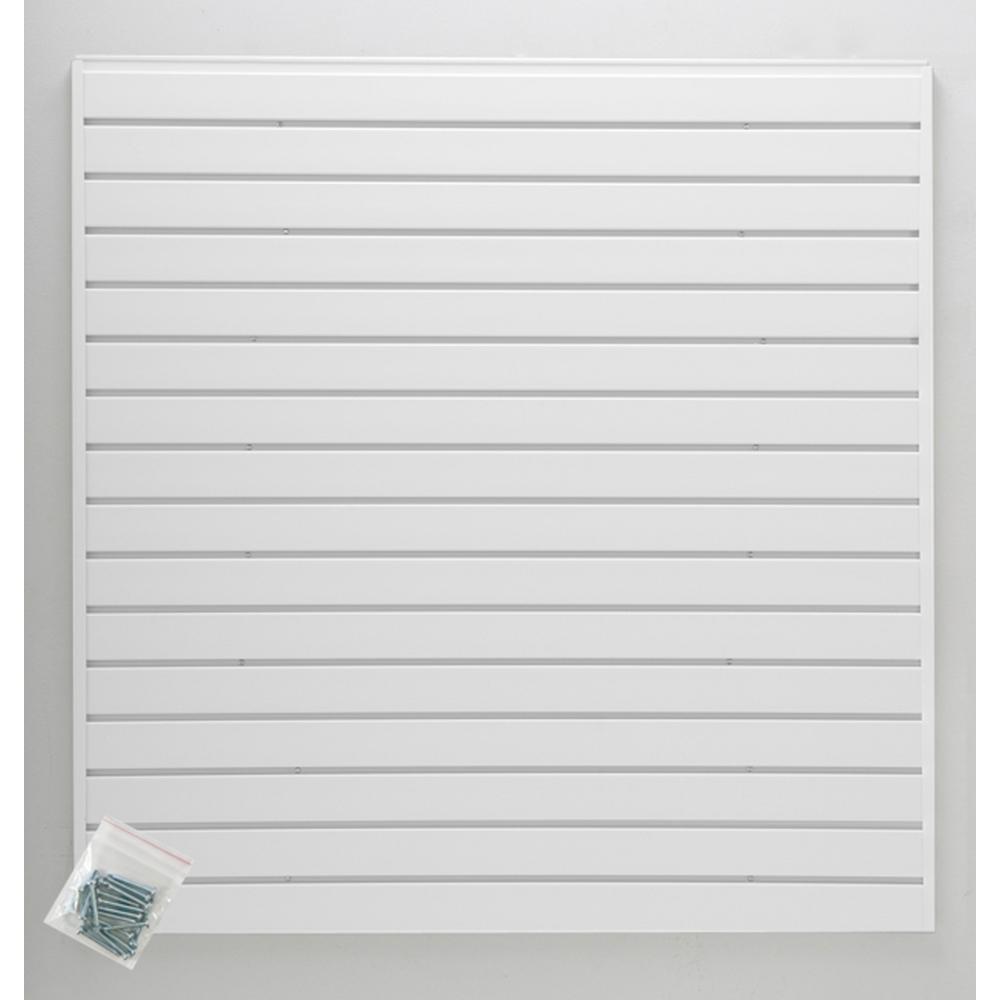 4 ft. x 4 ft. or 8 ft. x 2 ft. White Plastic Slat Wall Kit