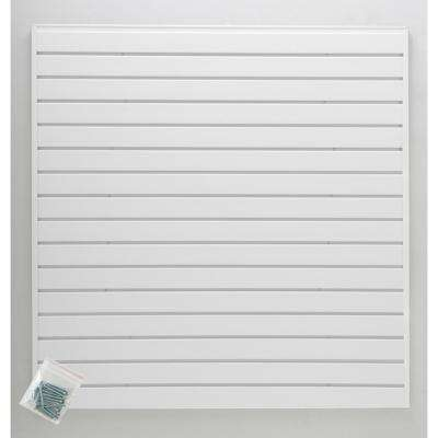 4 ft. x 4 ft. or 8 ft. x 2 ft. White Plastic Slat Wall Kit