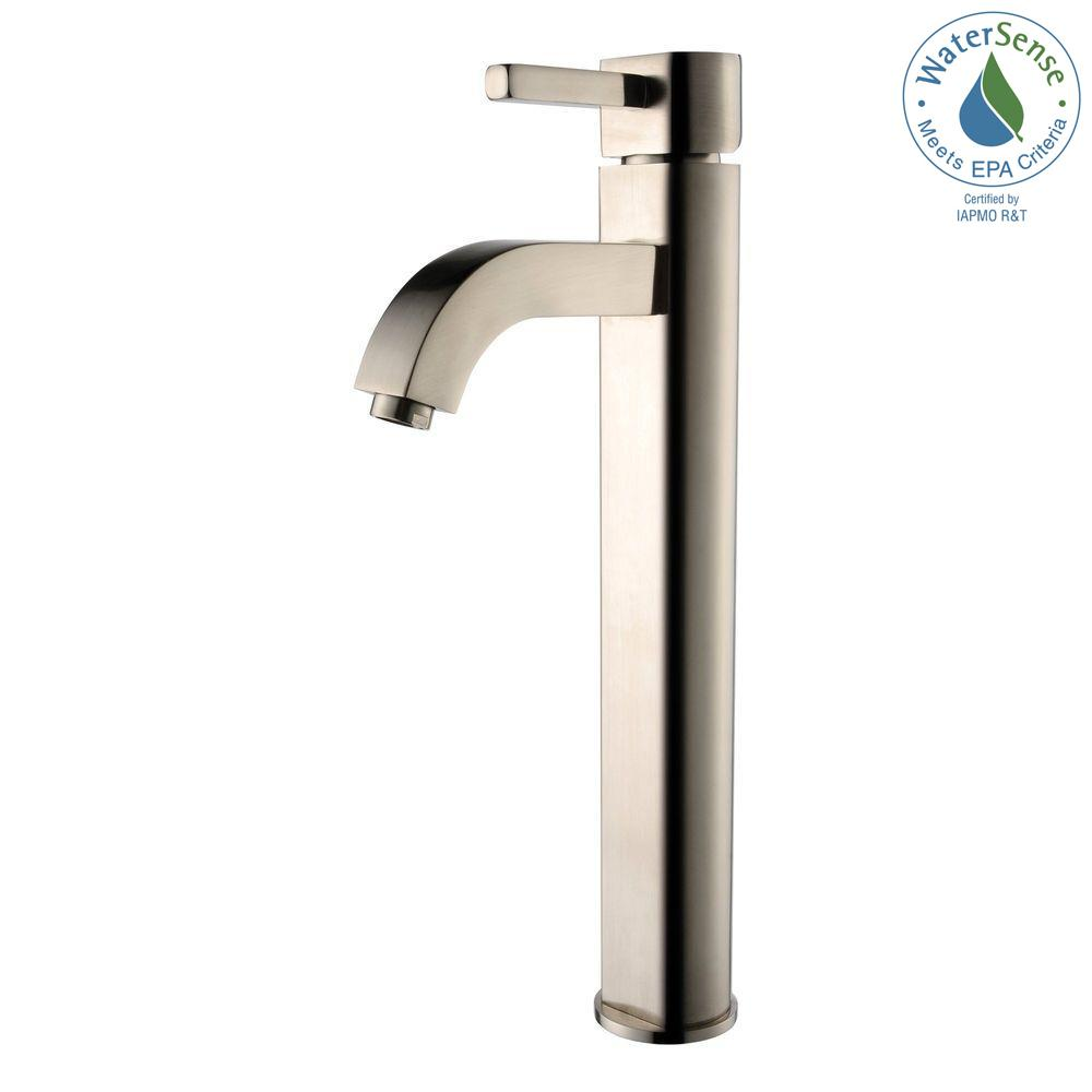 KRAUS Ramus Single Hole Single-Handle Vessel Bathroom Faucet in Satin Nickel