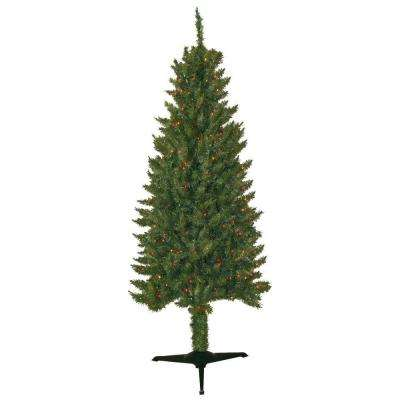 6 ft. Pre-Lit Slender Spruce Artificial Christmas Tree with Multi-Color Lights