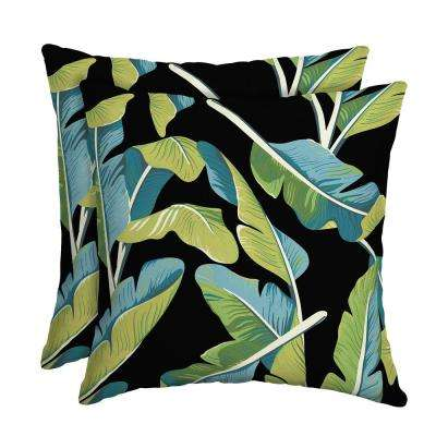 Banana Leaf Tropical Square Outdoor Throw Pillow (2-Pack)