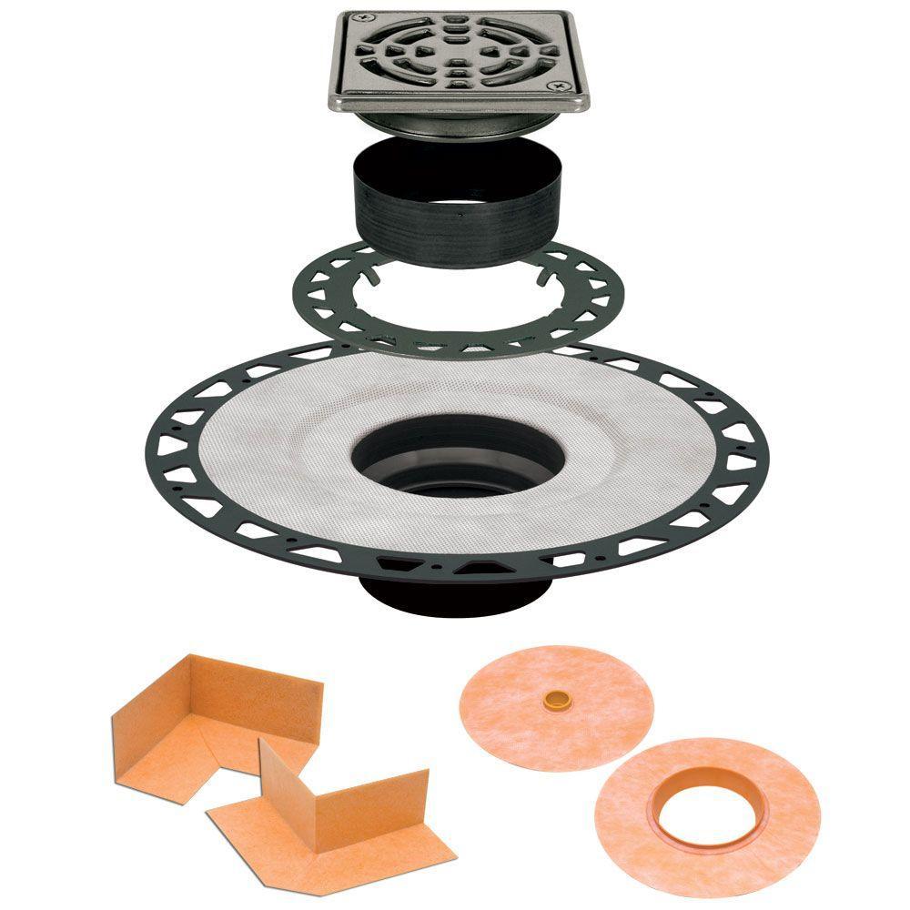 Kerdi-Drain 4 in. x 4 in. ABS Drain Kit in Stainless Steel