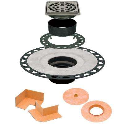 Kerdi-Drain 4 in. x 4 in. ABS Drain Kit in Stainless Steel