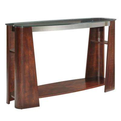 Harrison Warm Brown Glass Top End Table