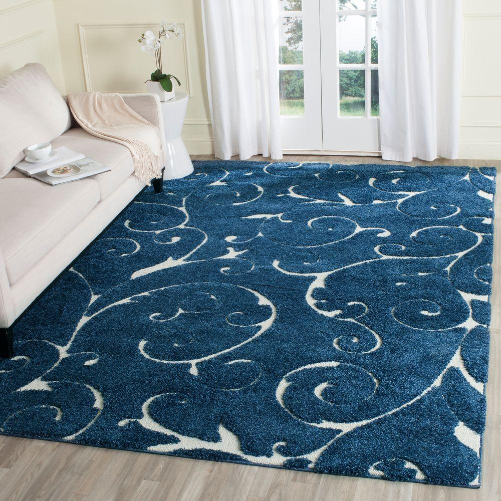 Safavieh florida shag dark blue cream 8 ft x 10 ft area for Living room rugs 6x9