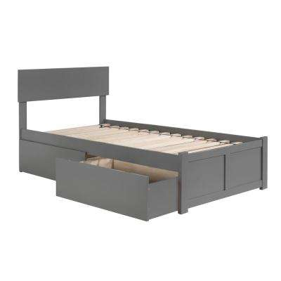 Orlando Twin Platform Bed with Flat Panel Foot Board and 2 Urban Bed Drawers in Grey