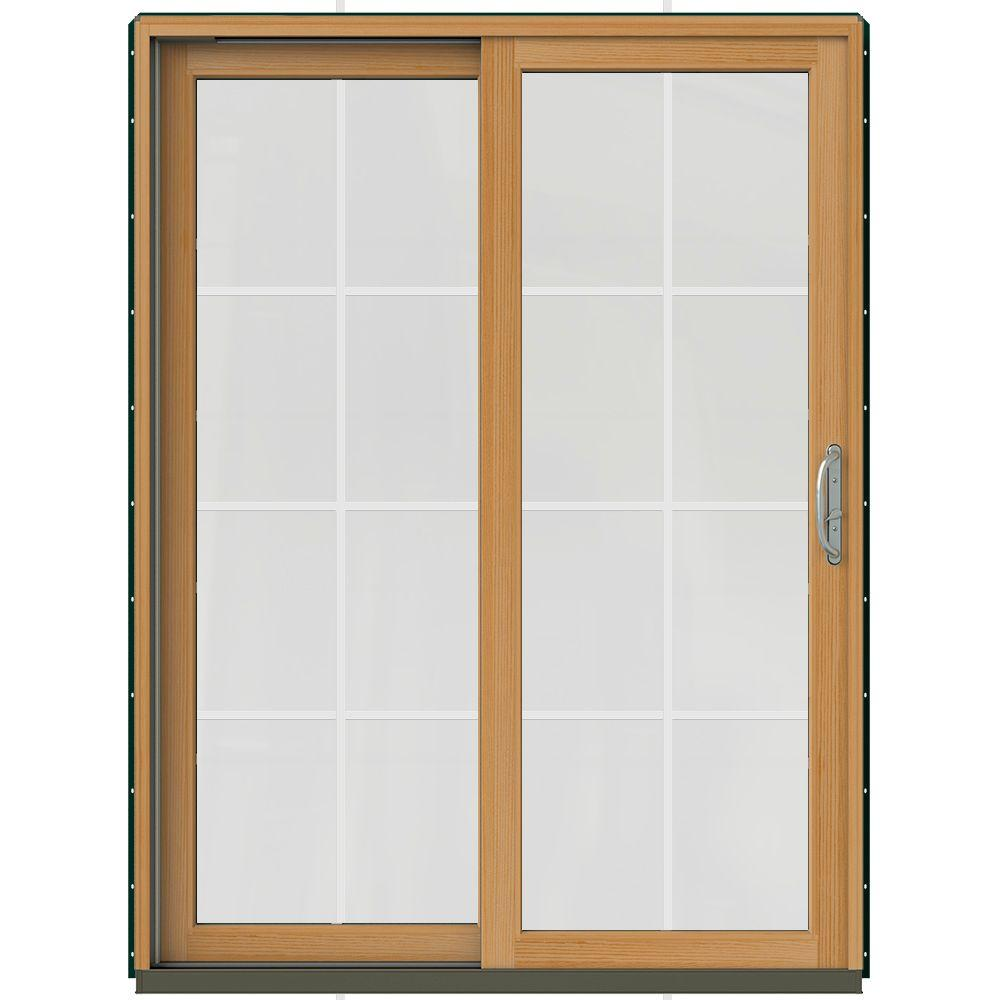 JELD-WEN 59-1/4 in. x 79-1/2 in. W-2500 Hartford Green Prehung Left-Hand Clad-Wood Sliding Patio Door with 8-Lite Grids-JW2201-01487 - The Home Depot  sc 1 st  The Home Depot & JELD-WEN 59-1/4 in. x 79-1/2 in. W-2500 Hartford Green Prehung ... pezcame.com