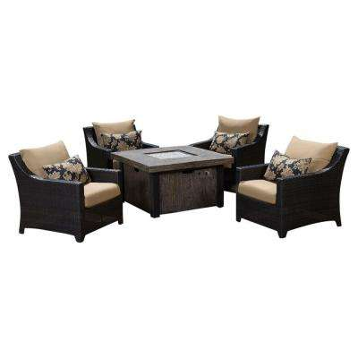 Deco 5-Piece Patio Fire Pit Seating Set with Delano Beige Cushions
