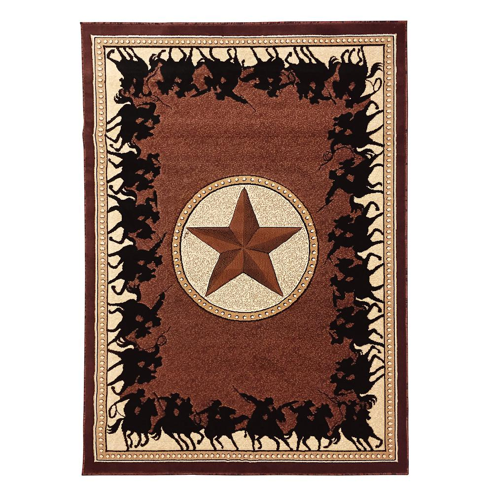 Large Western Rugs: DonnieAnn Traditions Western Star W/Cowboy Design