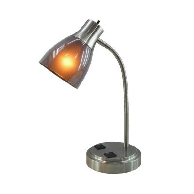 18 in. Brushed Steel Desk Lamp with 2-Electrical Outlets and Double Layer Charcoal Shade