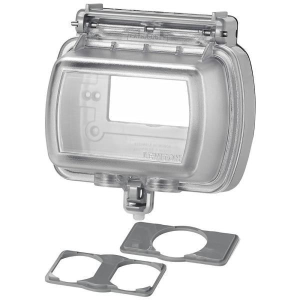 Decora/GFCI 1-Gang Extra Heavy Duty Raintight While-In-Use Device Mount Horizontal Cover with Lid, Clear