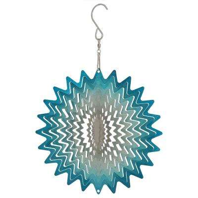 6 in. Whirligig Blue Star Whirligig Outdoor Wind Spinner with Hook
