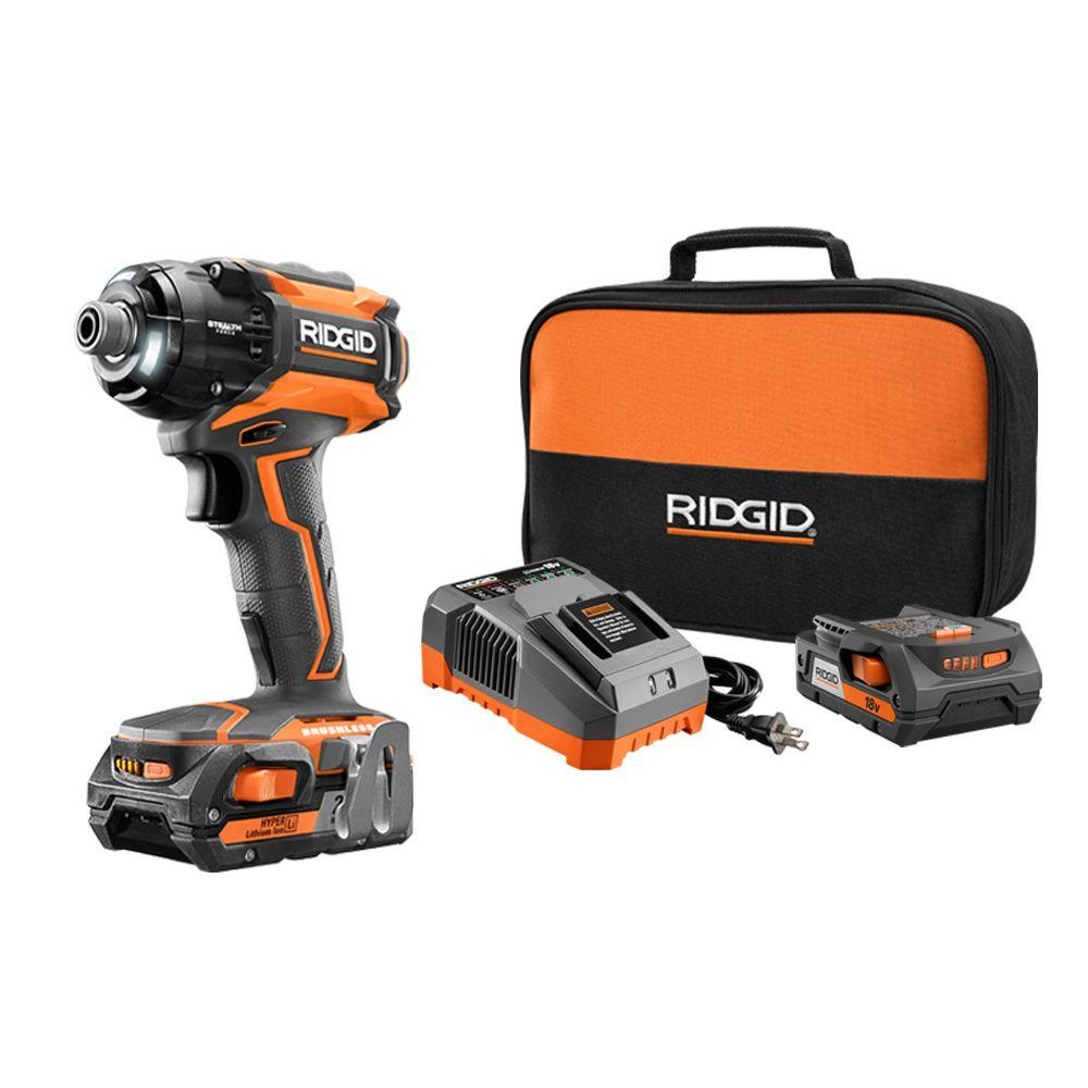 RIDGID STEALTH FORCE Brushless 18-Volt Hyper Lithium-Ion 1/4 in. Cordless Pulse Driver Kit