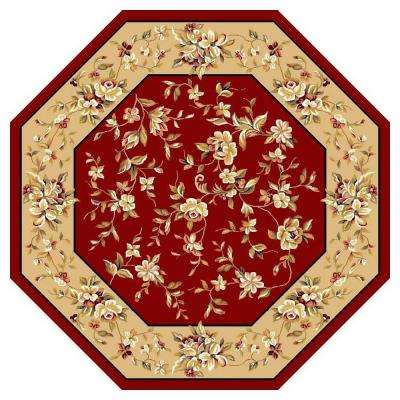 Traditional Florals Red 7 ft. 7 in. x 7 ft. 7 in. Octagon Area Rug
