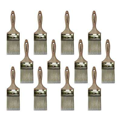 3 in. Flat Polyester Paint Brush (12-Pack)