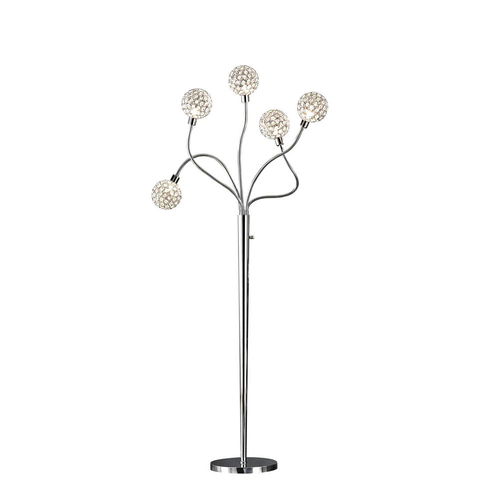 ARTIVA SOHO 65 in. H Modern 5-Light Brushed Steel Crystal Balls Floor Lamp with Dimmer