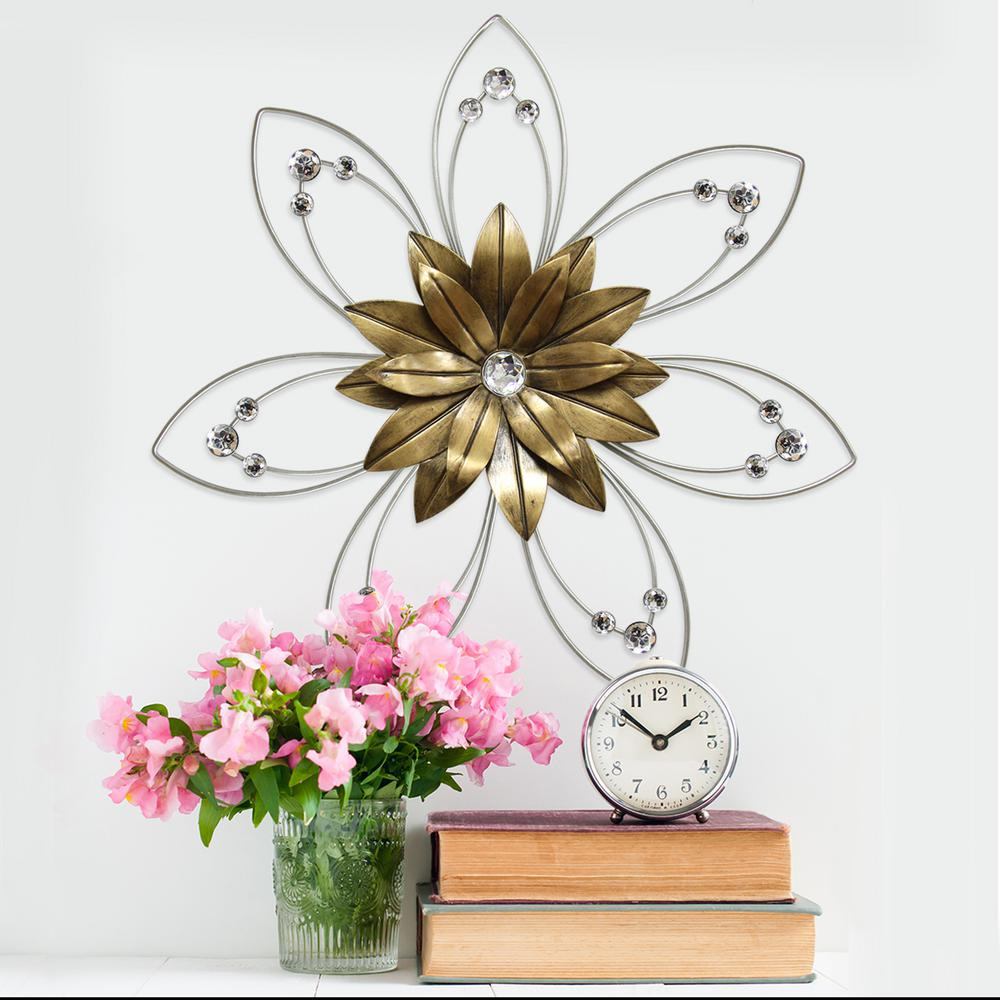 stratton home decor enchanting metal flower wall decor s07757 the home depot. Black Bedroom Furniture Sets. Home Design Ideas