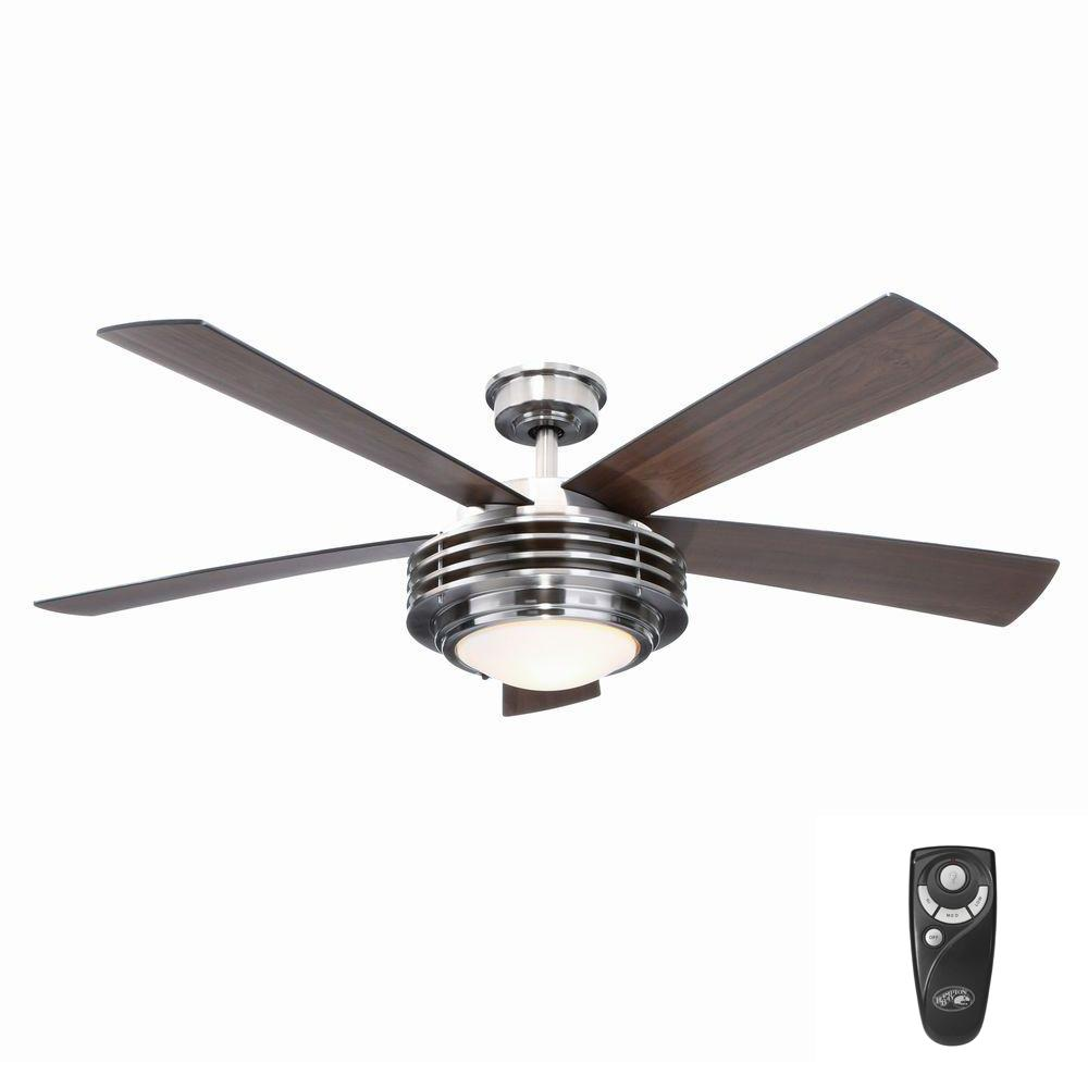 Indoor Brushed Nickel Ceiling Fan With Light Kit And Remote