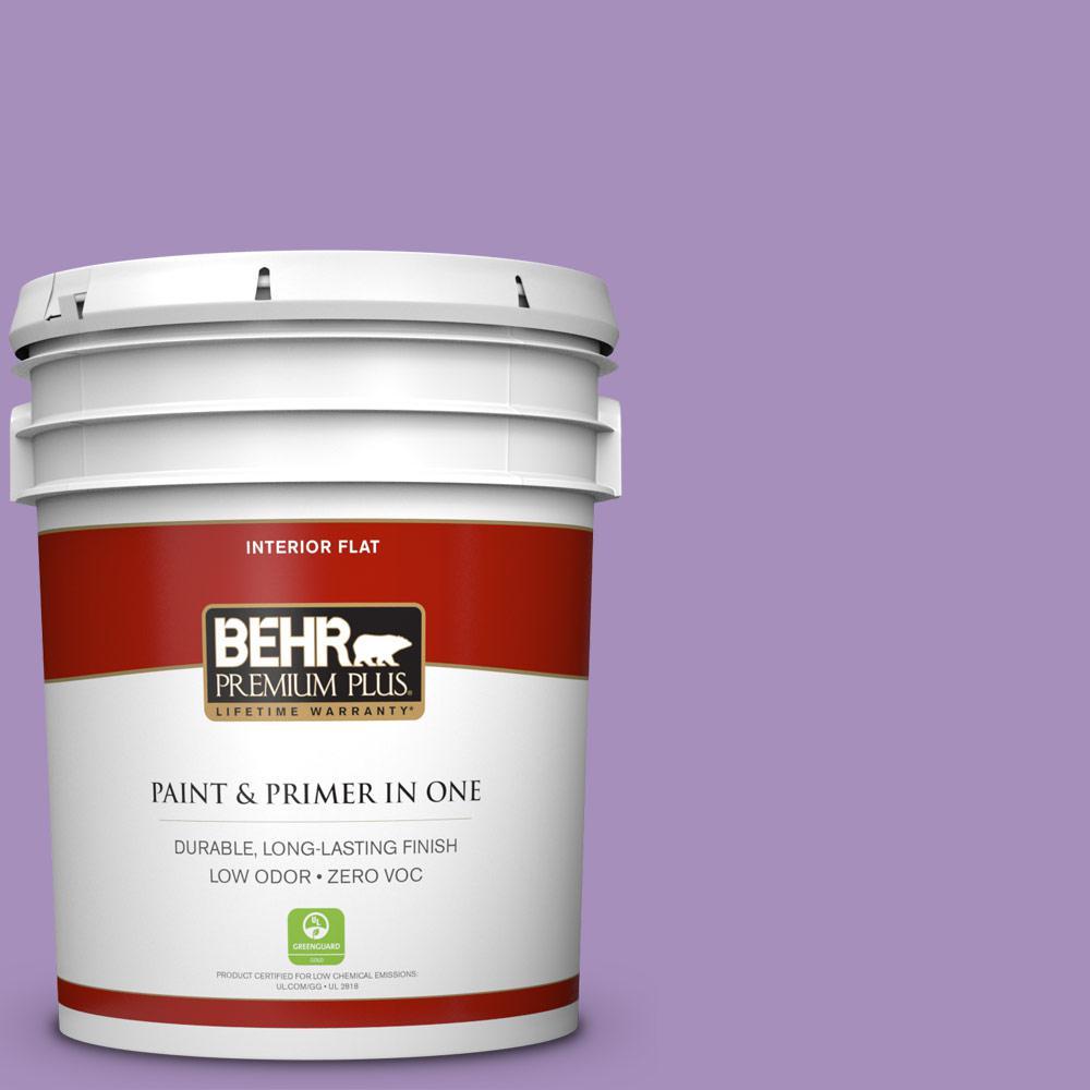BEHR Premium Plus 5-gal. #650B-5 Garden Pansy Zero VOC Flat Interior Paint