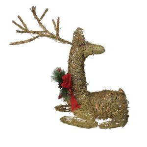 30 in. Christmas Outdoor Rattan Lighted Reindeer Decoration with Red Bow and Pine Cones