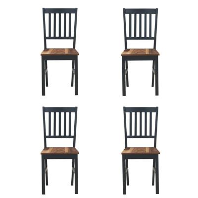 Black Unfinished Wood T-Stitch Dining Chairs (Set of 4)