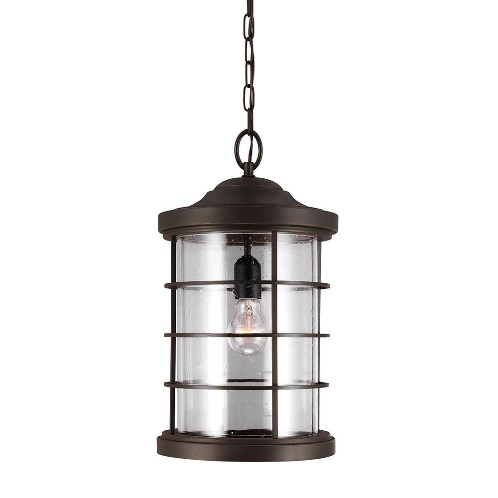 Marvelous Sea Gull Lighting Sauganash 1 Light Outdoor Heirloom Bronze Hanging Pendant  With Clear Seeded Glass