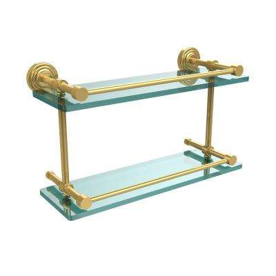 Waverly Place 16 in. L x 8 in. H x 5 in. W 2-Tier Clear Glass Bathroom Shelf with Gallery Rail in Polished Brass