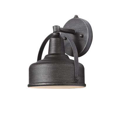9 in. Weathered Pewter Small Outdoor LED Wall Lantern with Open Bottom