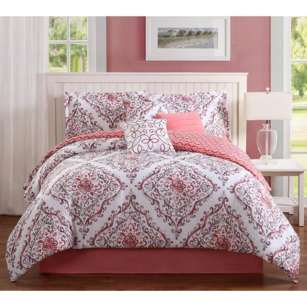 Unbranded Studio 7 Piece Coral/Gray/White King Comforter Set