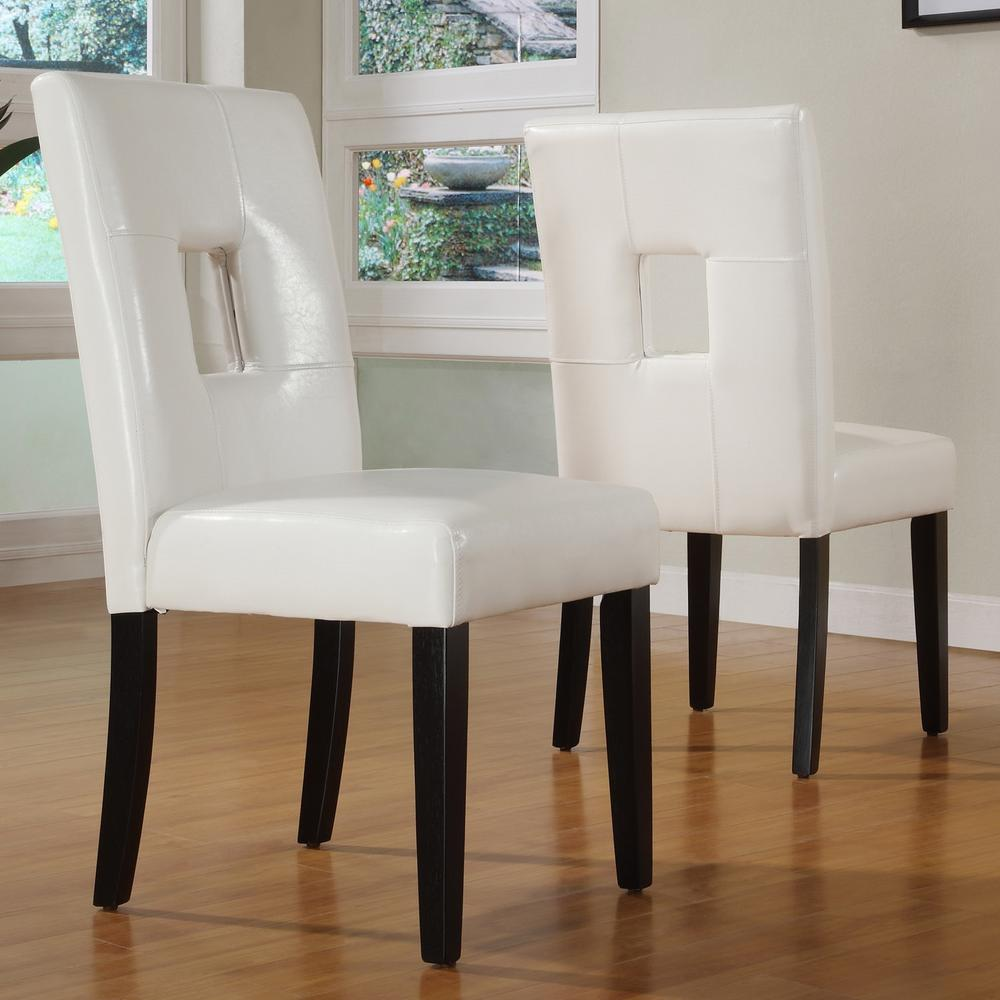 White PU Side Chair (Set of 2)