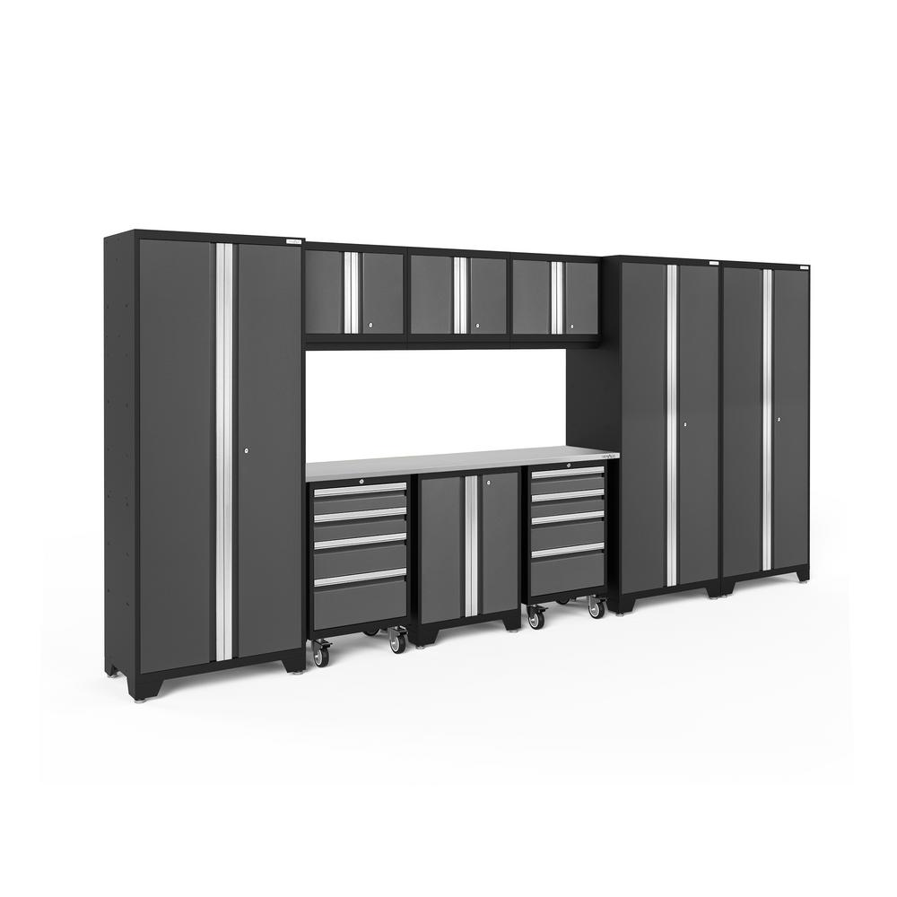 NewAge Products Bold Series 162 in. W x 77.25 in. H x 18 in. D 24-Gauge Steel Garage Cabinet Set in Gray (10-Piece)