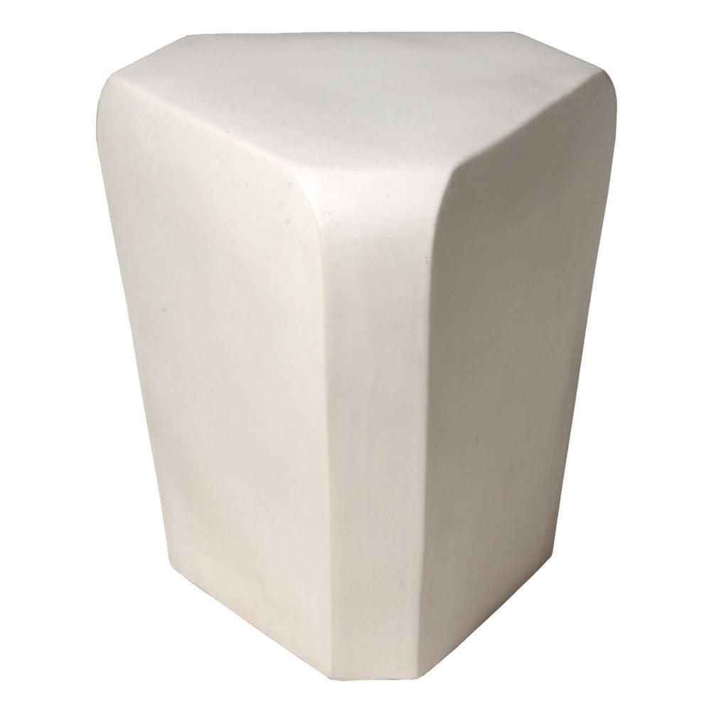 Triangle White Ceramic Garden Stool