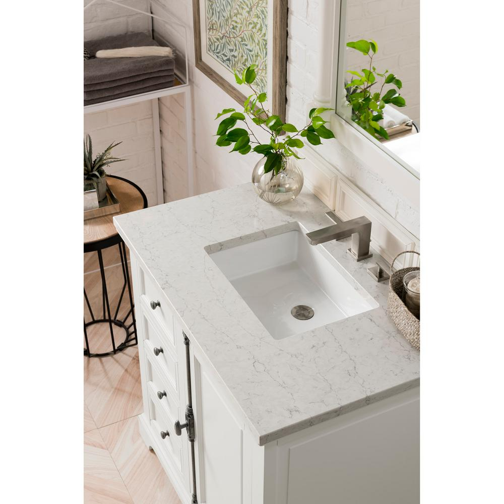 Providence 36 in. Single Bath Vanity in Cottage White with Quartz Vanity Top in Eternal Jasmine Pearl with White Basin