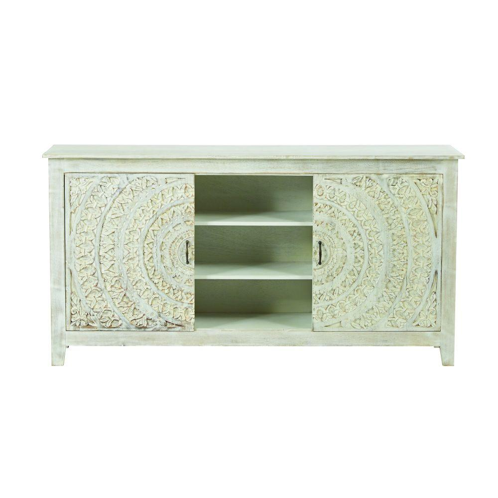 Chennai White Wash Storage Entertainment Center