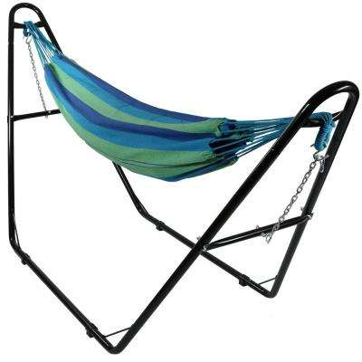 10.5 ft. Fabric Cotton Double Brazilian Hammock with Multi-Use Universal Stand in Beach Oasis