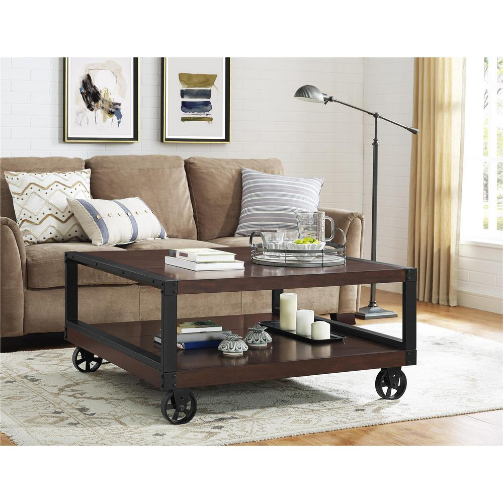 Altra furniture wade mahogany mobile coffee table for Mobile furniture