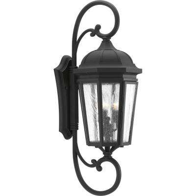 Verdae Collection 3-Light Outdoor Black Wall Lantern